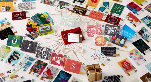 Starbucks gift card designs including the new sterling silver card