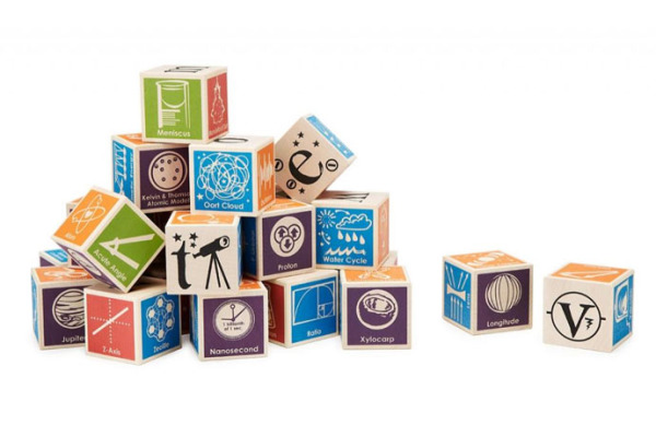 Super nerdy wooden ABC blocks for future scientists