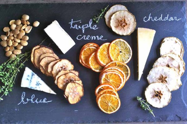 Cocktail party foods: Cheese with Simple and Crisp Fruit Crisps