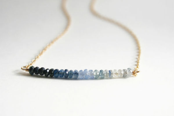 Holiday jewelry gift ideas under $75: Sapphire Ombre Necklace at the Cool Mom Picks Indie Shop by Laura Stark