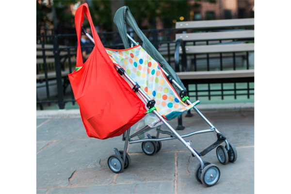 SureShop's no-tip reusable no-tip stroller bag is a lifesaver
