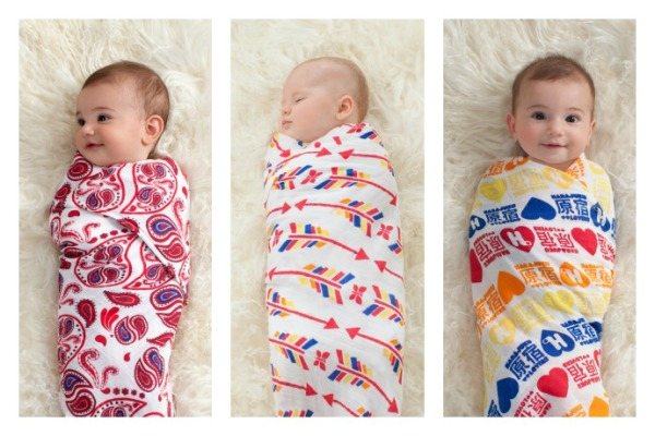 Celebrity-designed swaddles at aden + anais for (RED) in honor of World AIDS Day