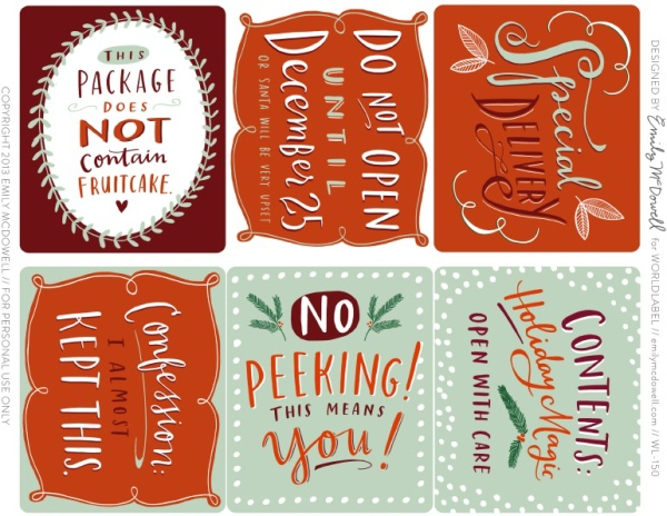 Free printable Christmas labels and gift tags by Emily McDowell via coolmompicks.com