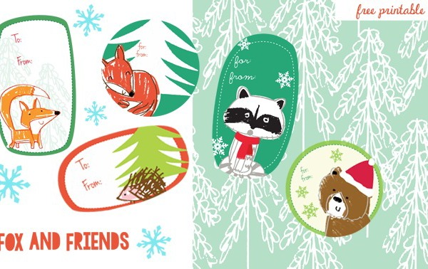 Free printable gift tags from Zutano: Woodland creature holiday tags