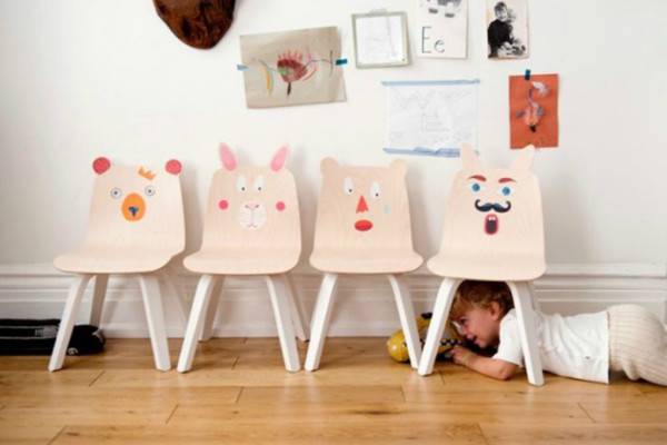 Bunny and Bear chairs for kids by Oeuf. Stickers optional