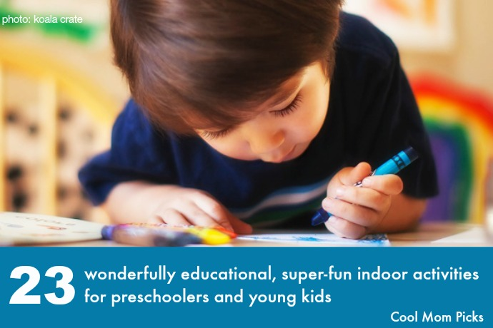 23 ideas for fun, educational indoor activities for preschoolers and young kids. Because we need all the ideas we can get!