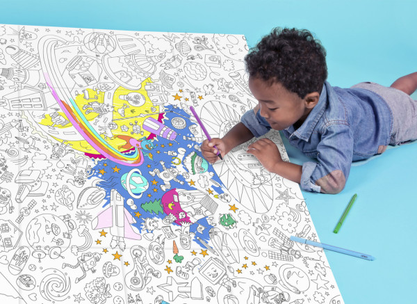 Giant space coloring page for kids at Mini Life boutique