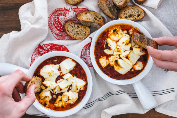 Healthy game day food: Baked Goat Cheese in Fire Roasted Tomatoes | A Couple Cooks