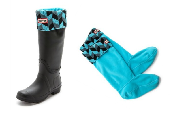Hunter boot inserts in blue geometric