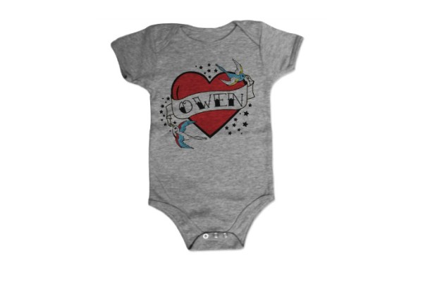 Personalized heart tattoo baby onesie for Valentine's Day
