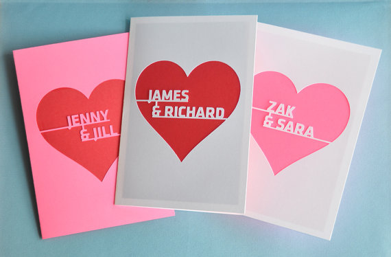Personalized Valentine's Day cards on Etsy, made with the couple's names