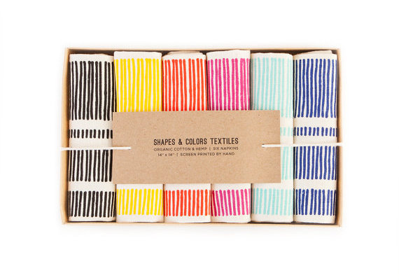Handprinted colorful napkins from Etsy's Shapes Colors
