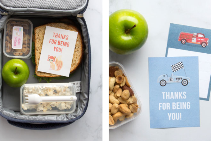 Free printable lunch box notes from Tiny Me