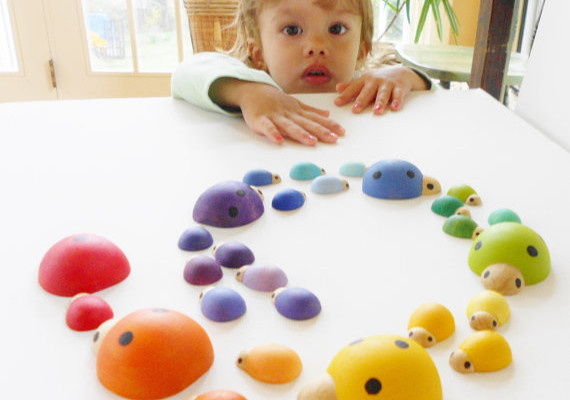 Beautiful handmade wooden sorting games for kids at Laughing Crickets