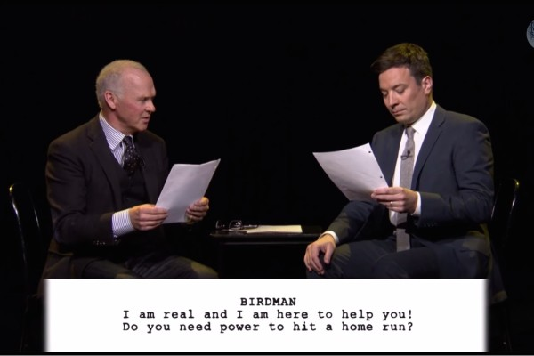 "Jimmy Fallon and Michael Keaton read children's ""Birdman"" scripts"