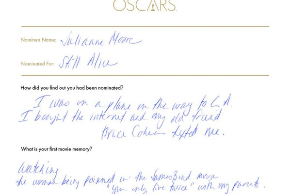 Julianne Moore Oscars questionnaire