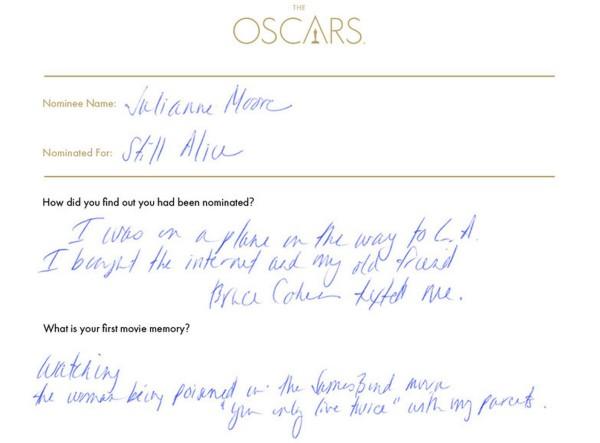 Julianne Moore Oscars questionnaire