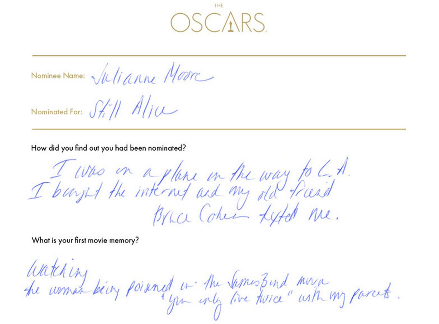 52 of the Oscar nominees, in their own words
