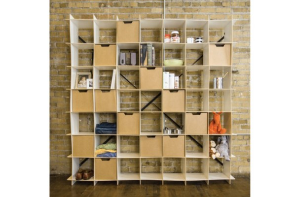 Affordable modern shelving and storage bins from Sprout Kids