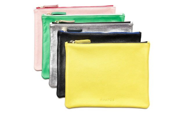 New Campos leather clutch bags in gorgeous colors