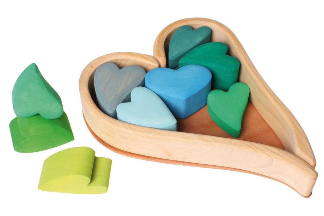Stacking wooden heart blocks toy for kids