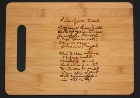 Custom engraved cutting board with a family recipe