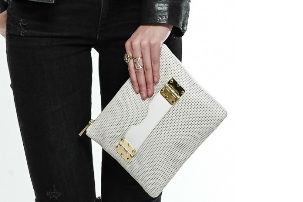 Hayden-Harnett perforated ivory clutch for spring. Gorgeous!