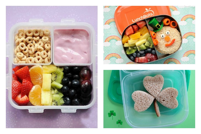 7 easy school lunch ideas for St. Patrick's Day from rainbow fruit to leprechaun sandwiches. (Contains no actual leprechauns.)