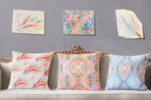 Custom pillows from kids' artwork at 19 Queensgate