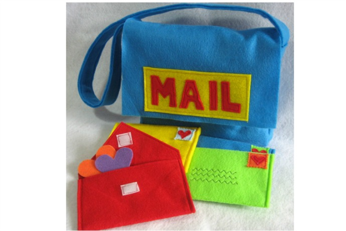 A colorful toy mail bag for kids that's ready to deliver fun