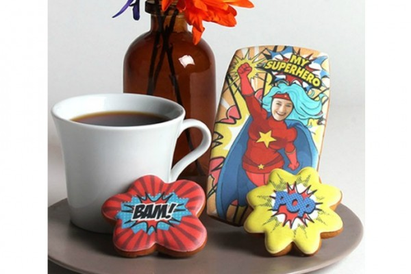Custom superhero cookies for mom at Eleni's | awesome Mother's Day gift!