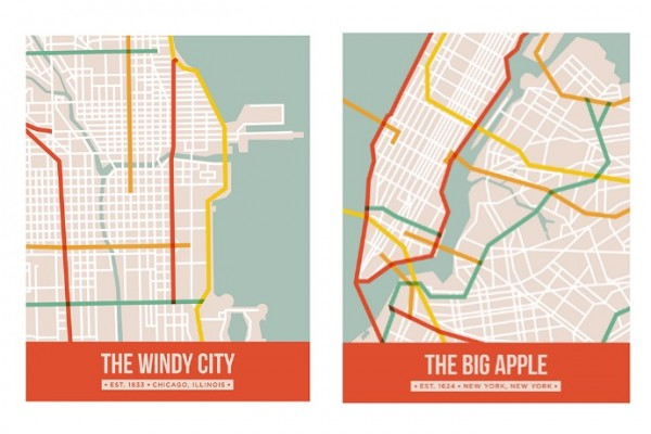 Cool modern city map posters by Sarah Lund
