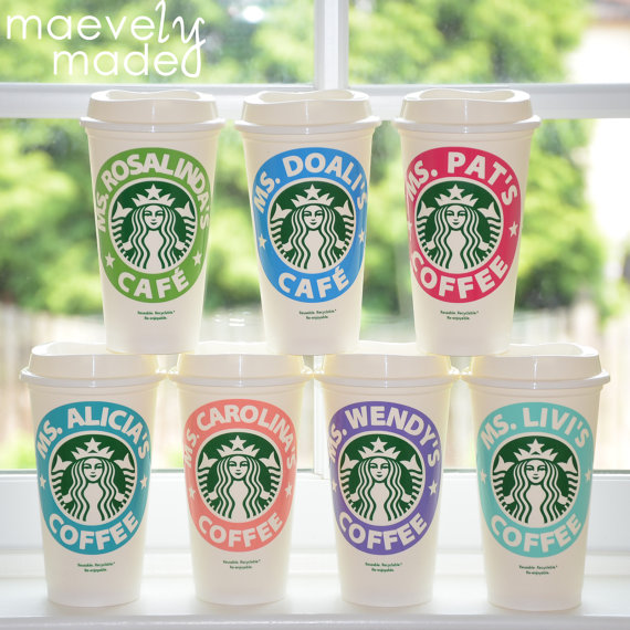 Personalized Starbucks coffee cups made by a kid! Great teacher gift