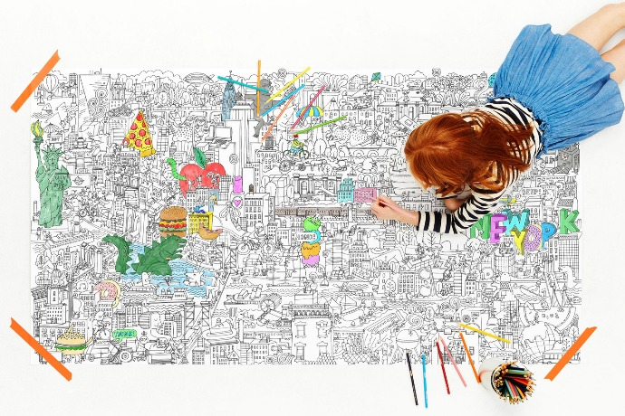 Fight boredom with the huge, and hugely fun, coloring poster from Pirasta