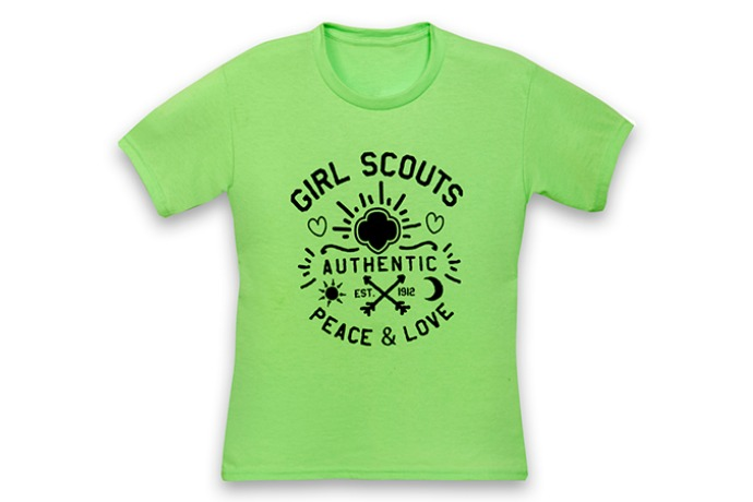 Peace love and girl scouts thinking parent for Girl scout troop shirts