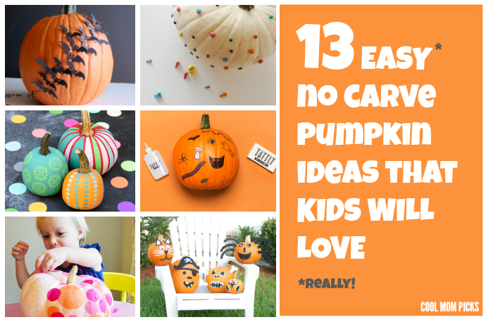 13 fabulously easy no-carve pumpkin ideas for the kids. (Yes, they really are easy.)