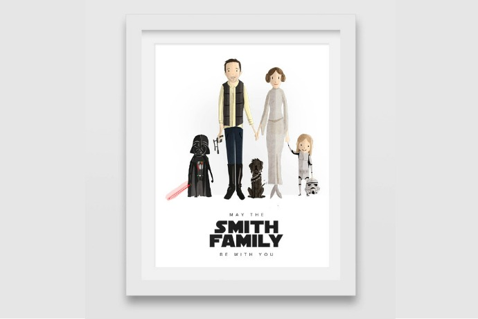 Custom Star Wars family portraits: The ultimate holiday gift from a galaxy far, far away. Or you know, Etsy.