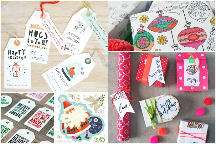 A great big list of 20 of the best free printable gift tags and gift wrap for the holidays