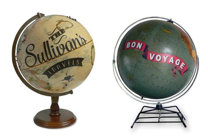 Custom art globes pieces kick our wanderlust up a notch