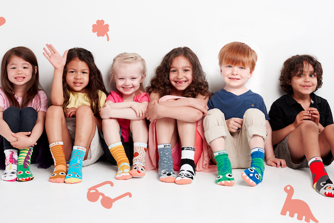 Super fun, mismatched socks for kids that also teach a good lesson. (Yes, really.)