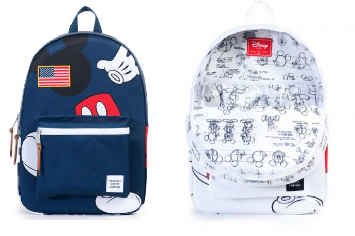 Herschel Supply backpacks + Mickey Mouse add up to retro cool.