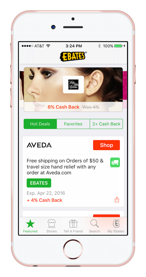 Ebates app for iOS and Android