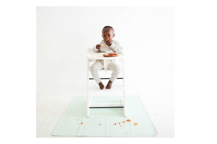 Gathre's bonded leather playmats are wipeable, waterproof, and so chic.