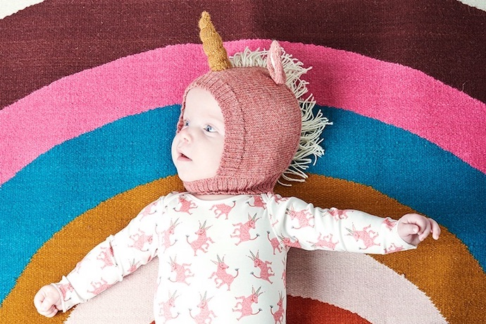 Adorable knit bunny, deer and unicorn winter hats for babies from Oeuf NYC. Because, of course you need this.