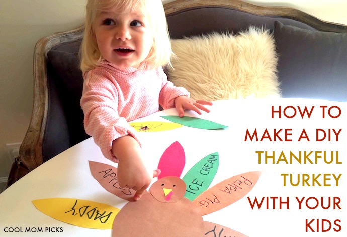 How to make a DIY Thankful Turkey with your kids in 4 (very) easy steps.