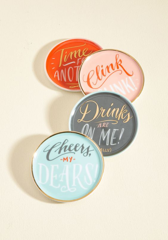 Adorable merry coaster set on sale at Modcloth