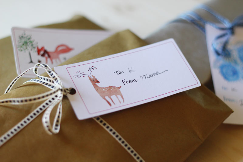 These Watercolor Animals printable gift tags from Sanae Ishida are so very lovely.