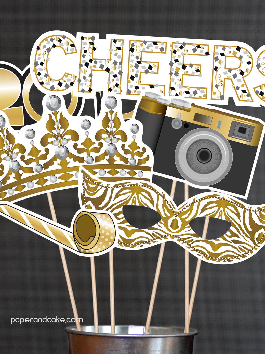 Printable 2017 New Year's Eve photo booth printables from Paper and Cake on Etsy