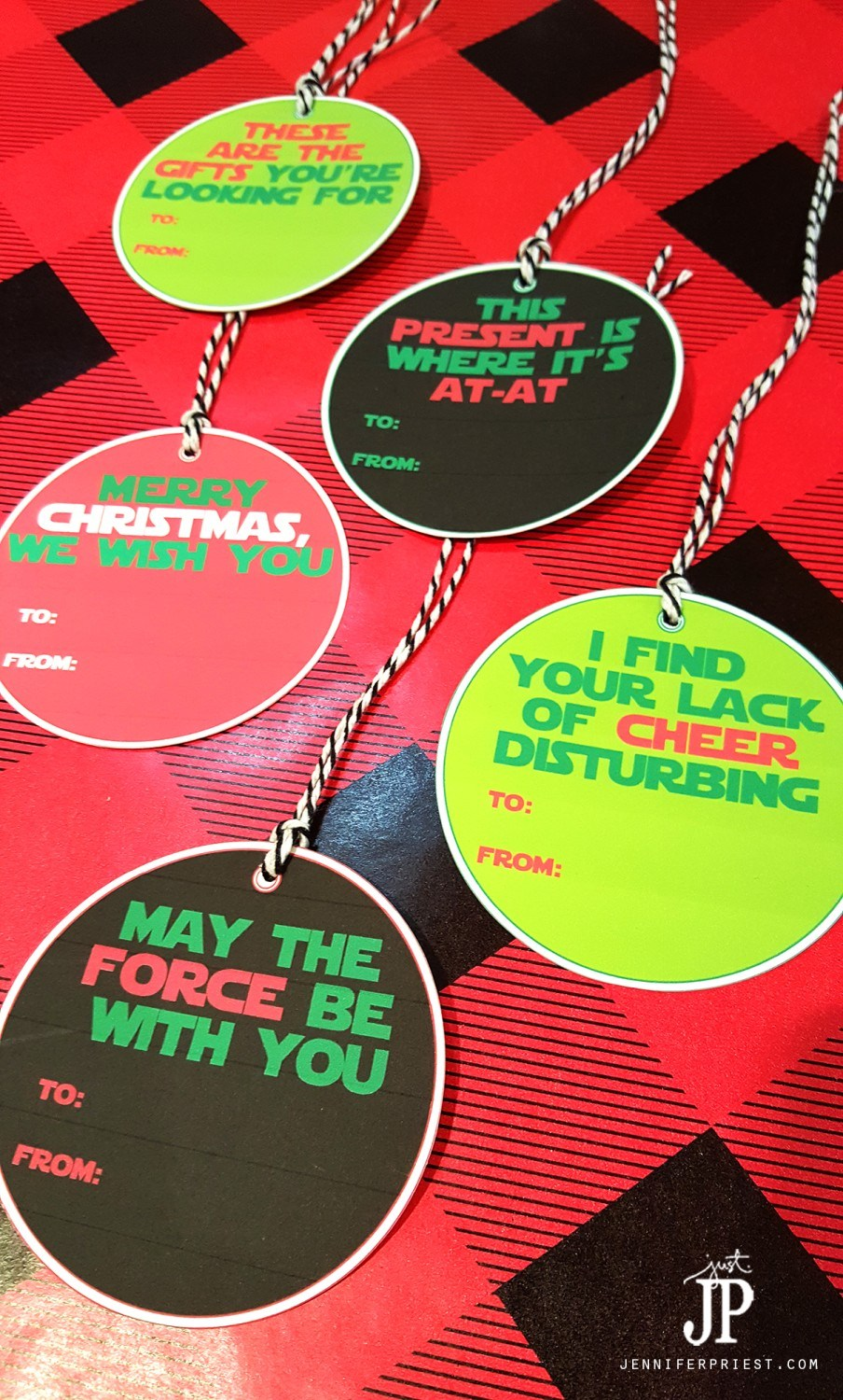 Free printable Star Wars gift tags from Just JP. Because, Star Wars.