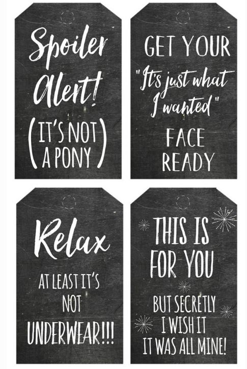 These Honest Christmas printable gift tags from Bunny Peculiar are funny and festive.